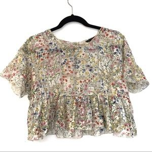 [ZARA] Floral Sheer Ruffled Button Down Crop Top S